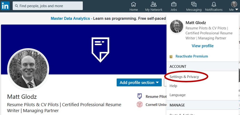 LinkedIn Job Search Privacy Settings