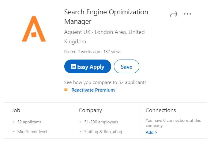 LinkedIn Easy Apply Feature Example