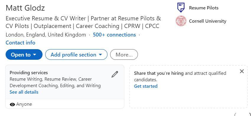 LinkedIn Open for Business Example