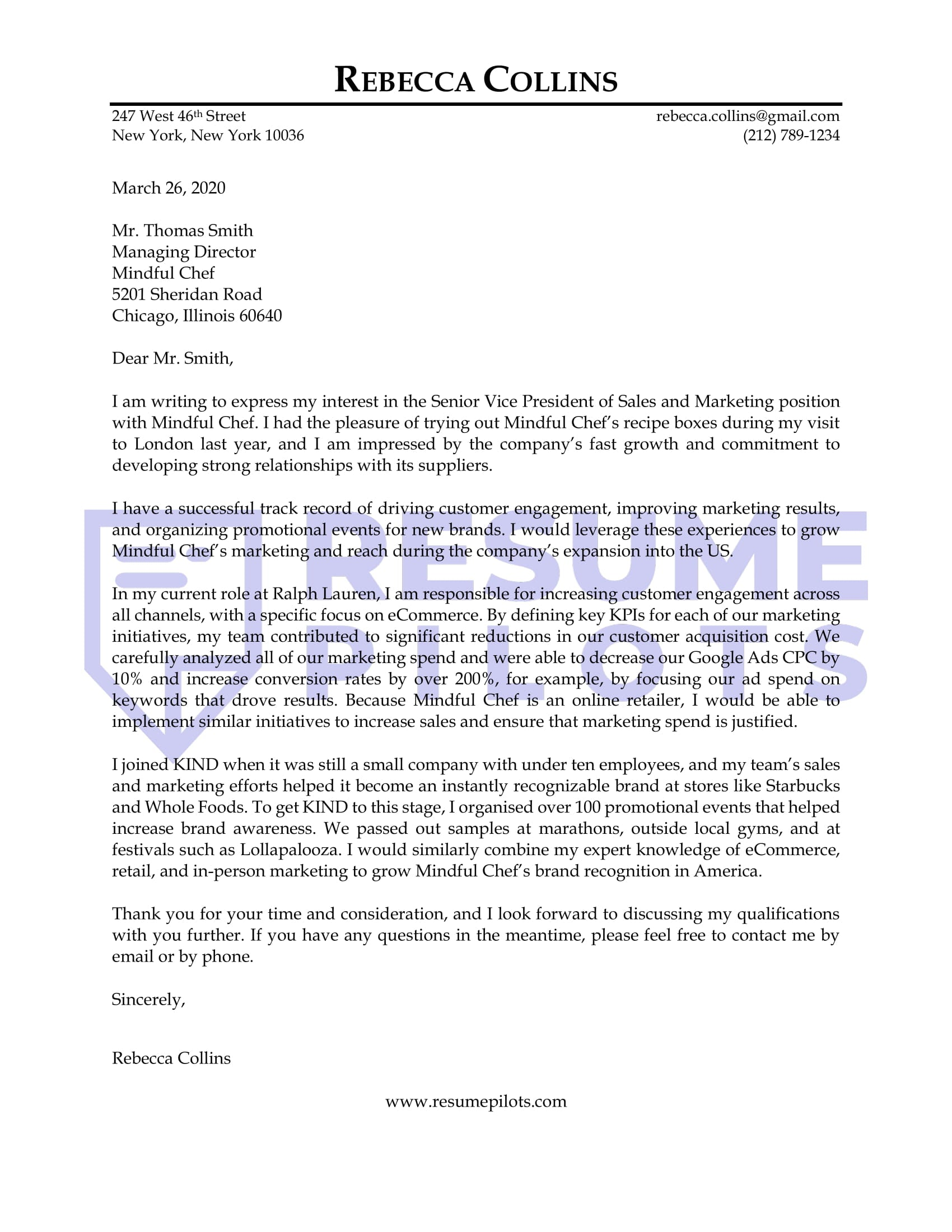 Sales And Marketing Cover Letter Sample 6 Reasons It Works Resume Pilots