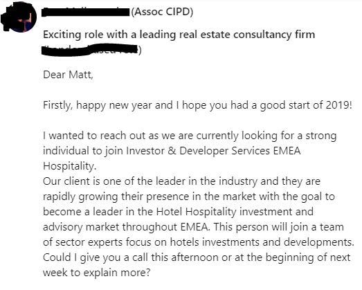 Sample LinkedIn Message from a Recruiter