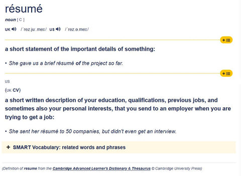 Cambridge Dictionary - Correct Spelling of Resume for a Job