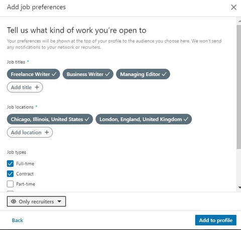 Adding Job Preferences on LinkedIn