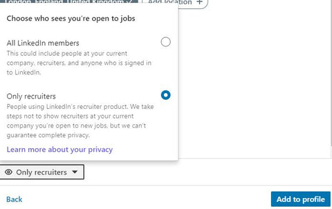 LinkedIn to New Opportunities Privacy Settings