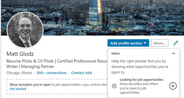 LinkedIn: Finding Open to New Opportunities Section