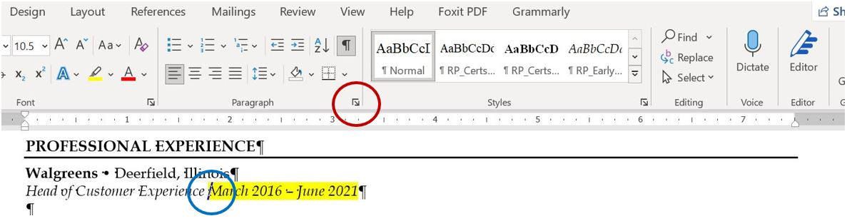 How to Right-Align Dates on Resume in Word - Step 2