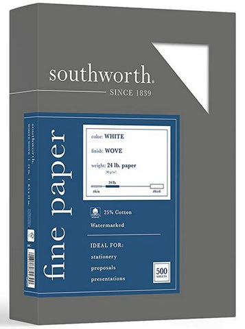 "Southworth 25% Cotton Business Paper, 8.5"" x 11"", 24 lb/90 GSM, Wove Finish, White, 500 Sheets"
