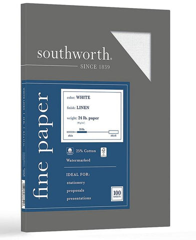 "Southworth 25% Cotton Business Paper, 8.5"" x 11"", 24 lb/90 gsm, Linen Finish, White, 100 Sheets"