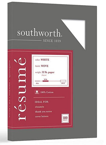 "Southworth 100% Cotton Resume Paper, 8.5"" x 11"", 32 lb/120 GSM, White, 100 Sheets"