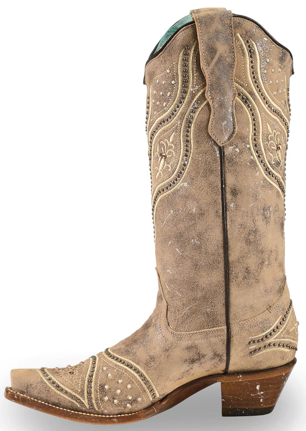 2ce2957f5cc Corral Women's Embroidered Studded Bridal Cowgirl Boots - Snip Toe ...