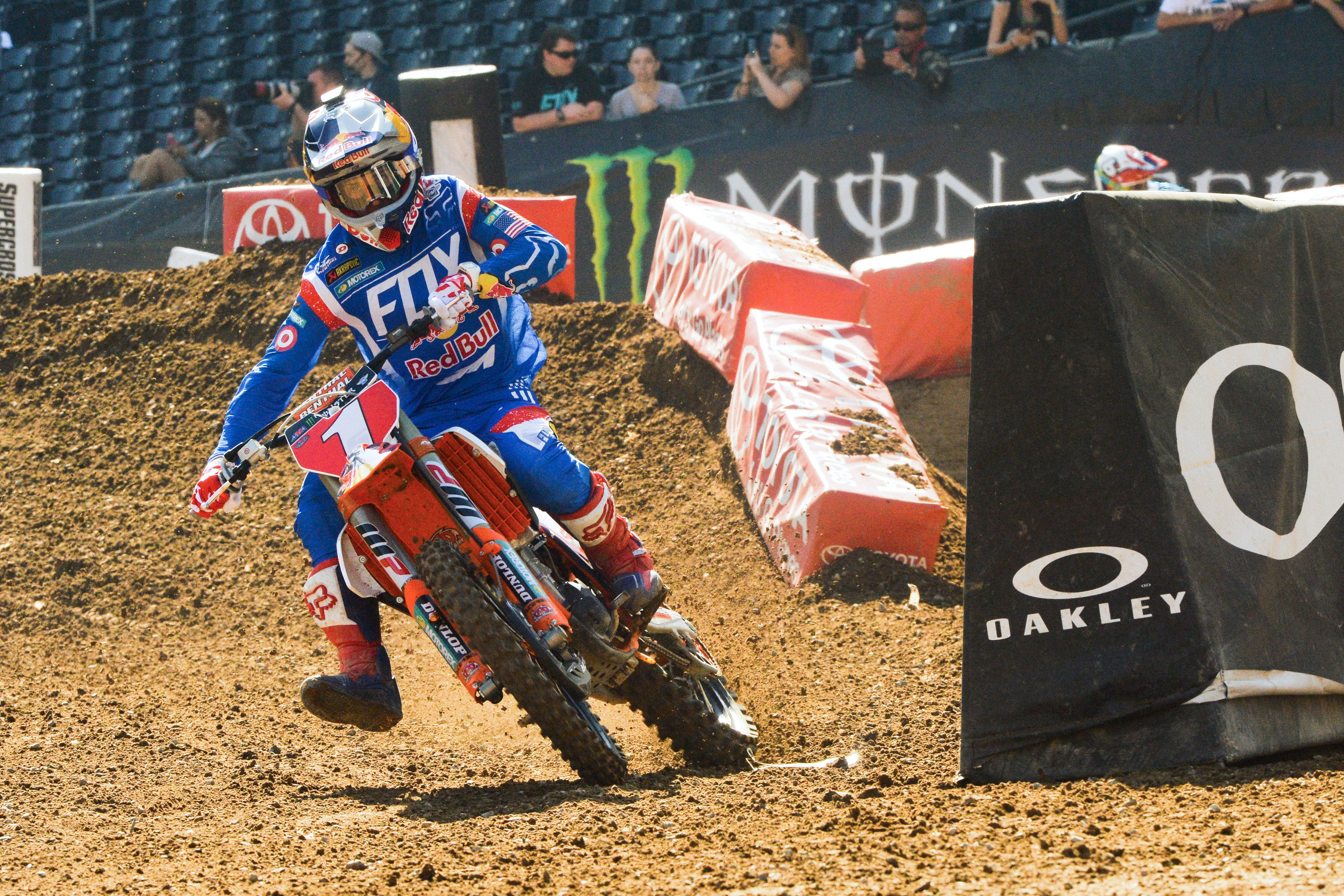 Defending Supercross Champion Ryan Dungey showing how it's done as he exits a flat right-hand turn on his KTM 450 SX/F