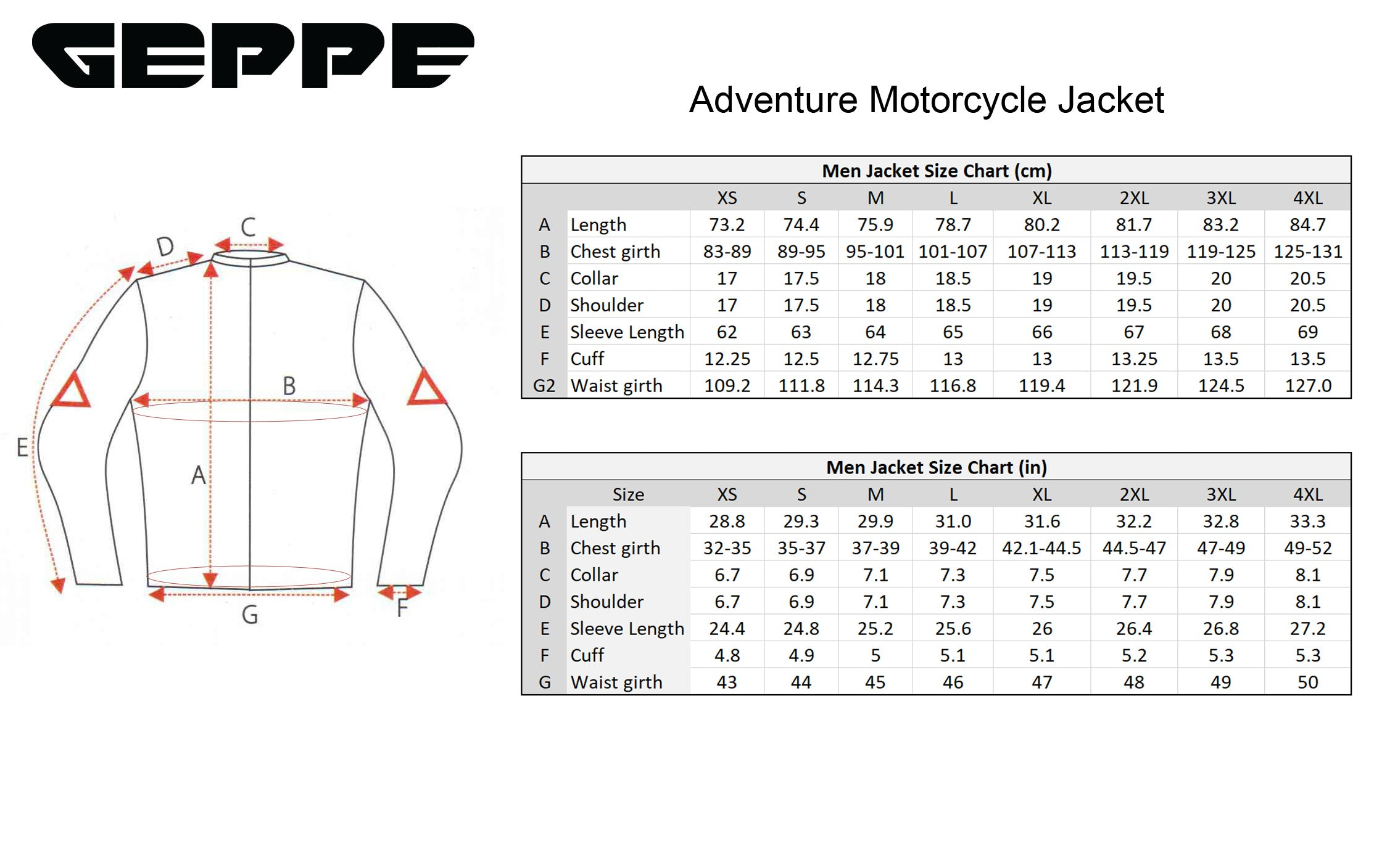 Geppe Adventure Jacket Size Chart