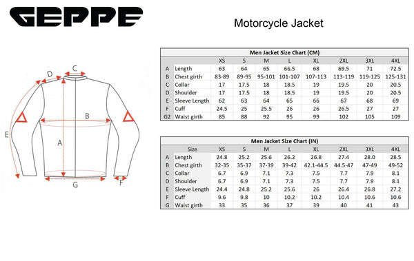 Geppe Jacket Size Chart