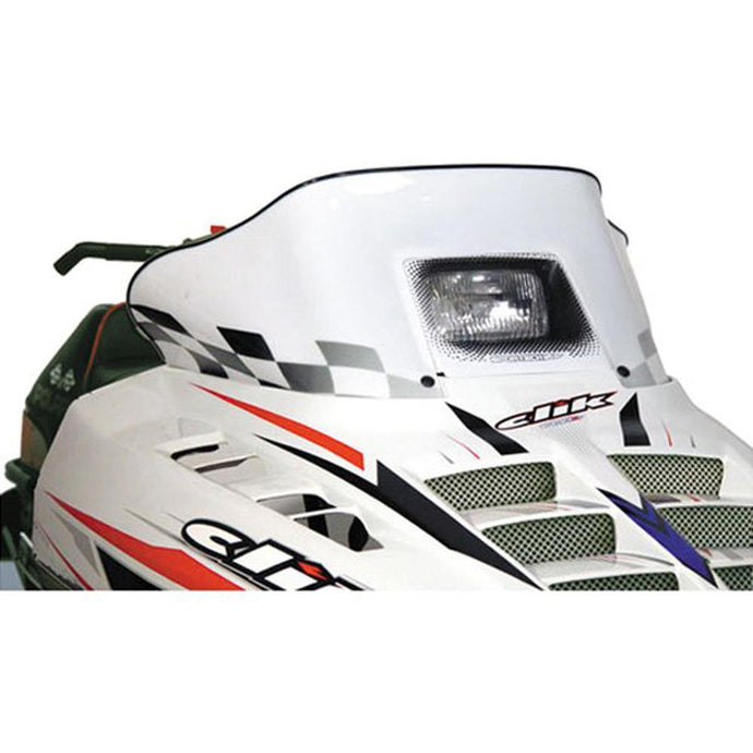 PowerMadd 11123 Cobra Windshield Polaris Std Chassis White W/black Flags
