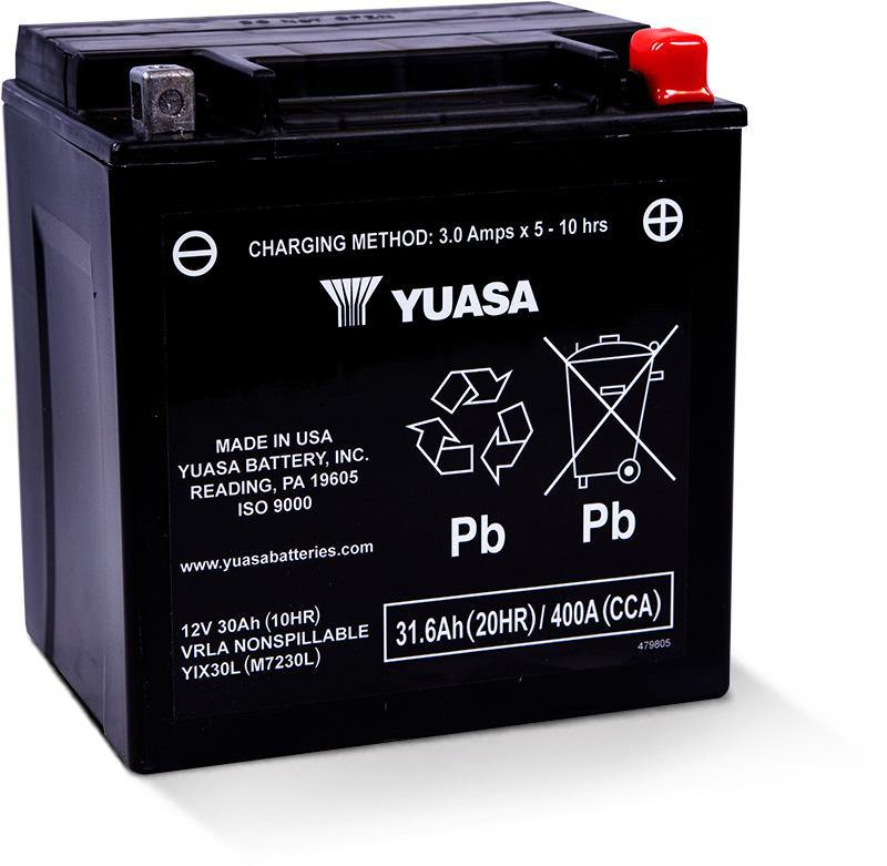 Yuasa YIX30L Factory Activated Maintenance Free 12 Volt Battery