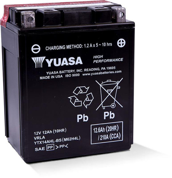 Yuasa YTX14AH Factory Activated Maintenance Free 12V Battery YUAM72H4A