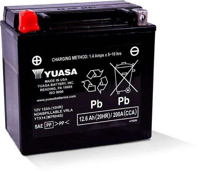 Yuasa YTX14 Factory Activated Maintenance Free 12V Battery YUAM7RH4S