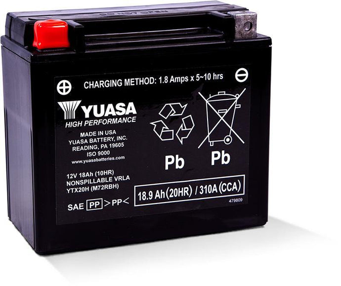 Yuasa YTX20H Factory Activated Maintenance Free 12V Battery YUAM72RBH