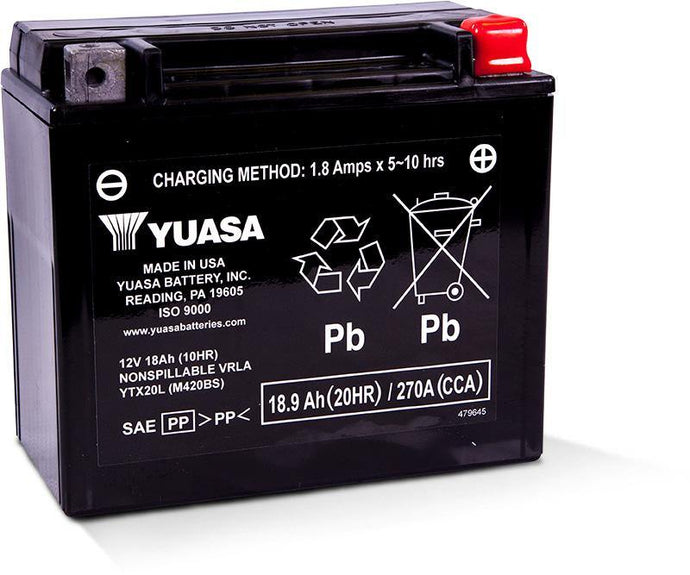 Yuasa YTX20L Factory Activated Maintenance Free 12V Battery YUAM420BS