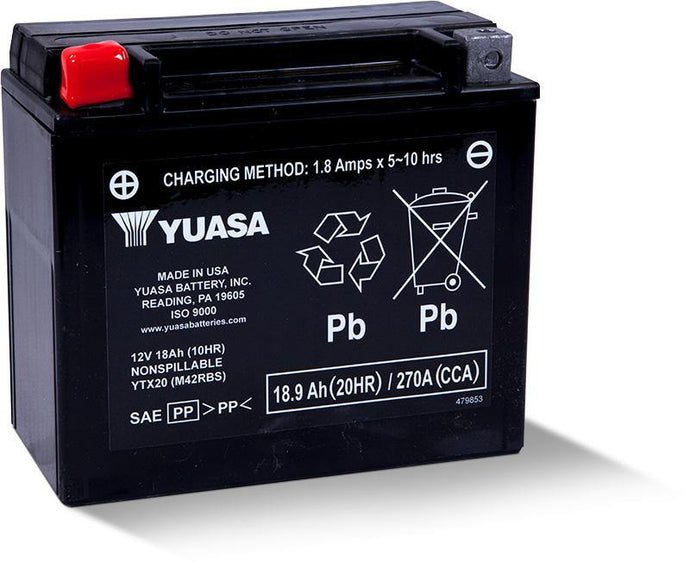 Yuasa YTX20 Factory Activated Maintenance Free 12V Battery YUAM42RBS