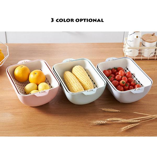 Double Plastic Vegetable Washing Basket