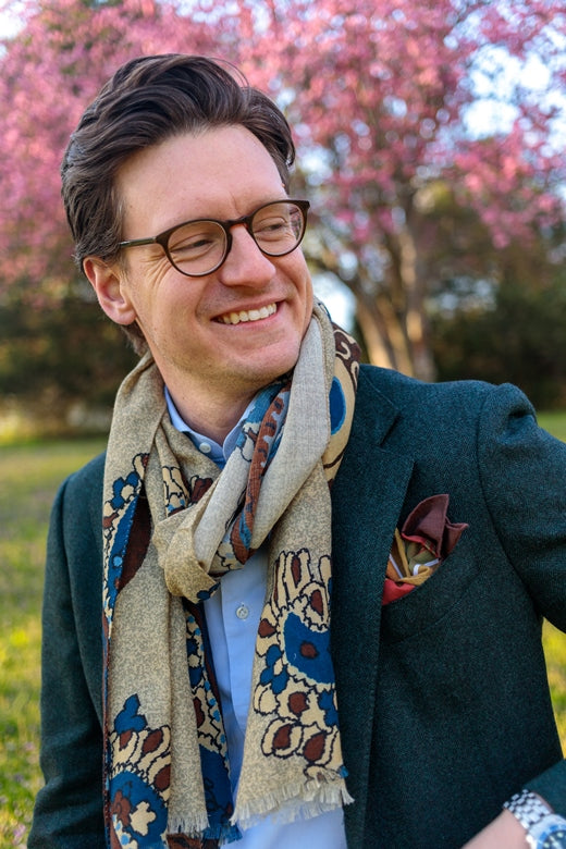 Mitchell Moss wearing a fumagalli 1891 scarf