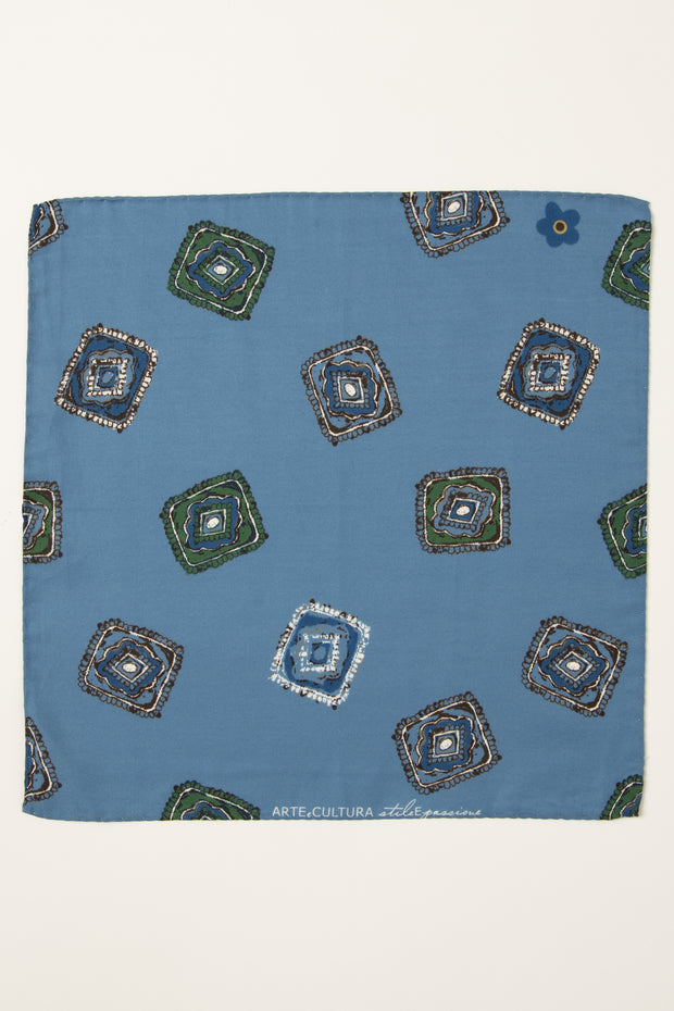 Light Blue Ultra Soft Silk & Cotton Diamonds Pocket Square-Fumagalli 1891