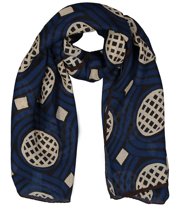 Blue diamonds printed hand made cashmere scarf - Fumagalli 1891