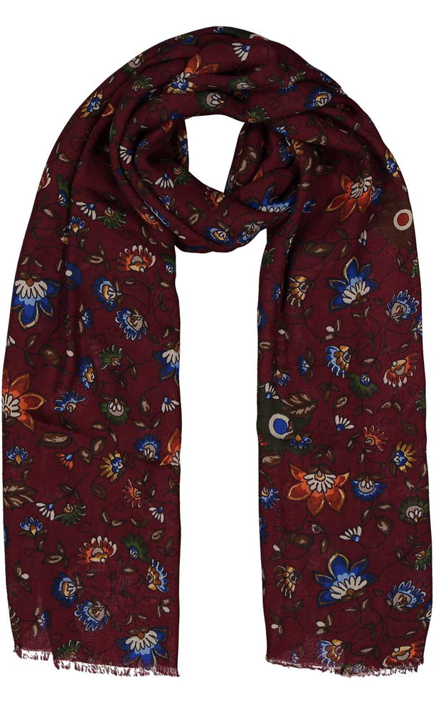 Red floral printed fringed hand made cashmere scarf- Fumagalli 1891