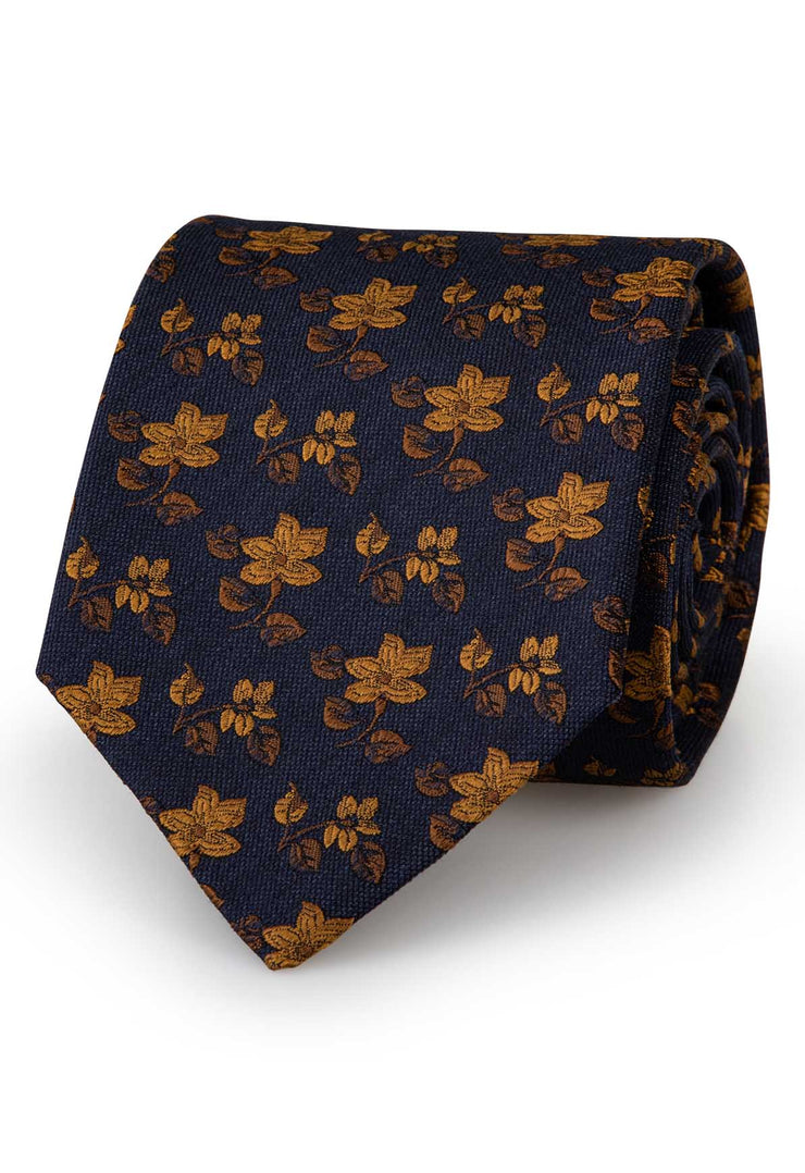 gold flowers on a dark blue background