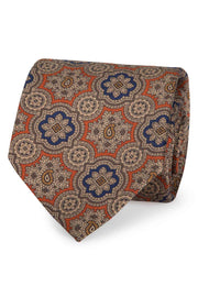 ORANGE, LIGHT BROWN & BLUE DIAMONDS PATTERN PRINTED SILK HAND MADE TIE- FUMAGALLI 1891
