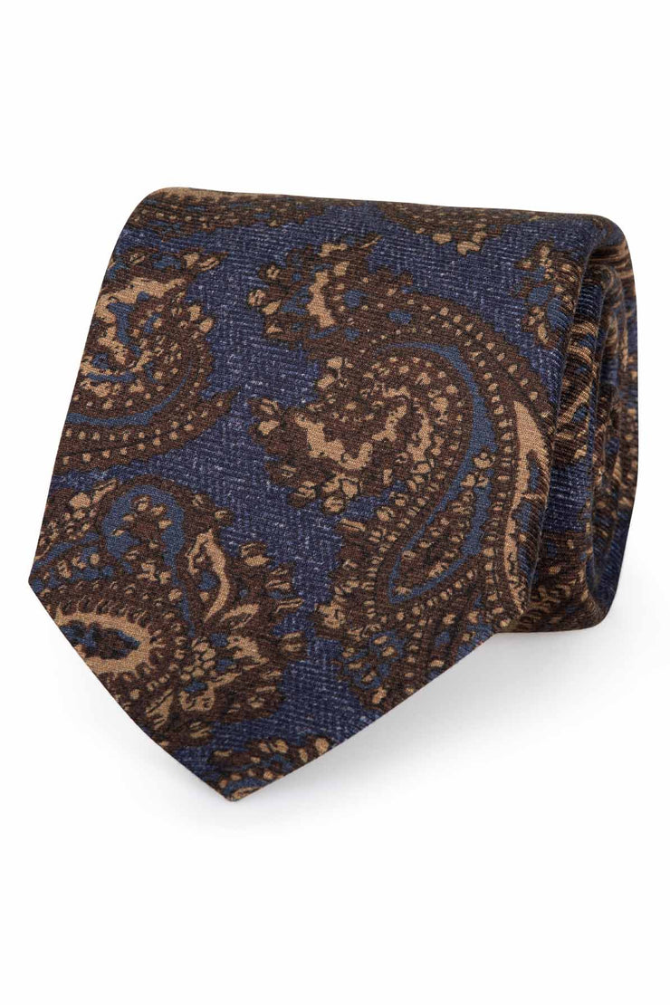 blue background with paisley pattern brown and light brown