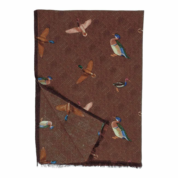 Fringed brown birds pure wool hand made scarf - Fumagalli 1891