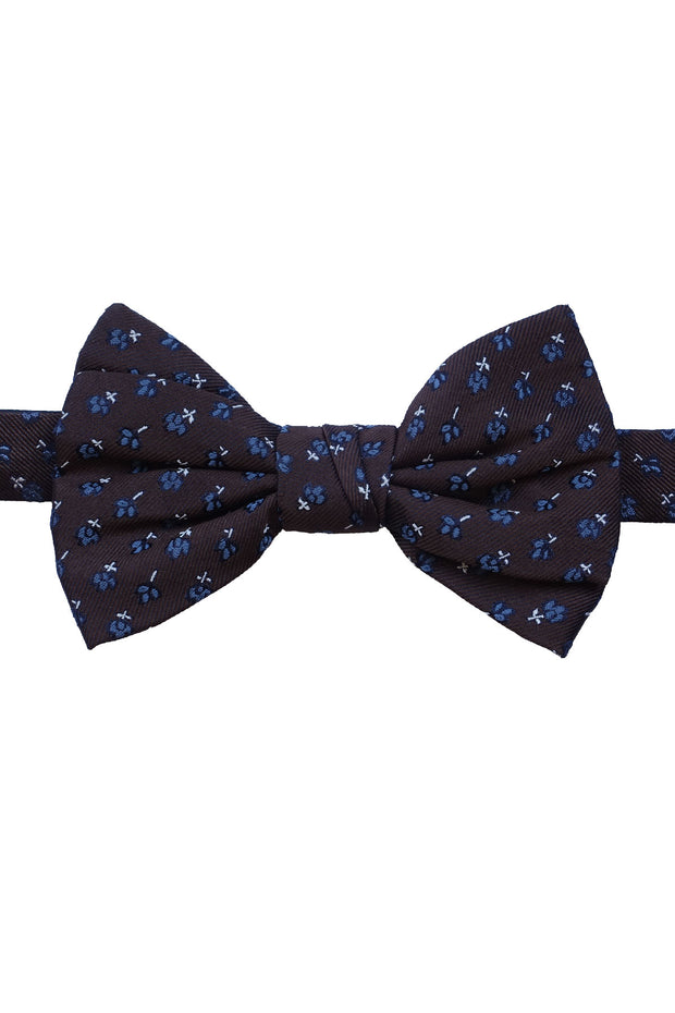 brown silk jacquard bow tie with little blue flowers