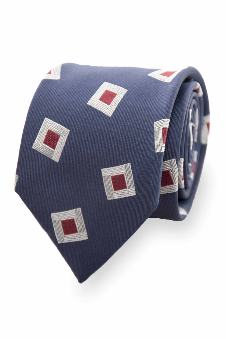BLUE & WHITE E RED ABSTRACT PATTERN JACQUARD SILK TIE - Fumagalli 1891