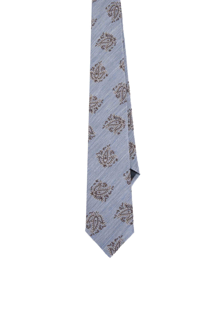 LIGHT BLUE, BROWN & WHITE FLORAL CLASSIC PATTERN VINTAGE SILK & LINEN HAND MADE TIE - Fumagalli 1891