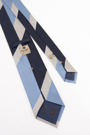 BLUE & WHITE & LIGHT BLUE STRIPE VINTAGE SILK TIE - Fumagalli 1891