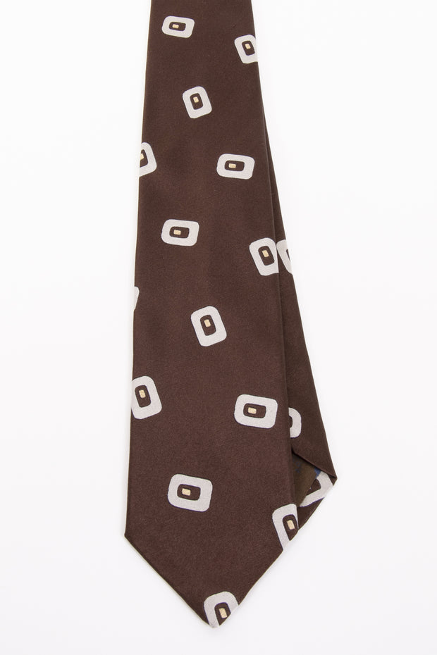 BROWN & WHITE CLASSIC PATTERN VINTAGE SILK HAND MADE TIE - Fumagalli 1891