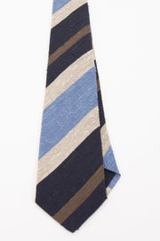 LIGHT BLUE, BLUE, BEIGE & BROWN STRIPE VINTAGE SILK TIE - Fumagalli 1891
