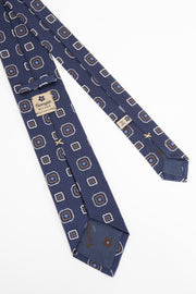 BLUE,WHITE & BEIGE SQUARES PATTERN JACQUARD SILK TIE - Fumagalli 1891
