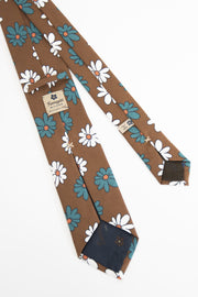 back of the tie with green and white daisy-retro della cravatta con fiori bianchi e verdi