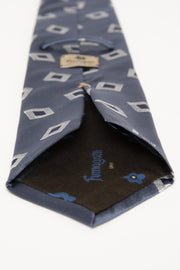 LIGHT BLUE & WHITE, BLUE ABSTRACT PATTERN JACQUARD SILK TIE - Fumagalli 1891