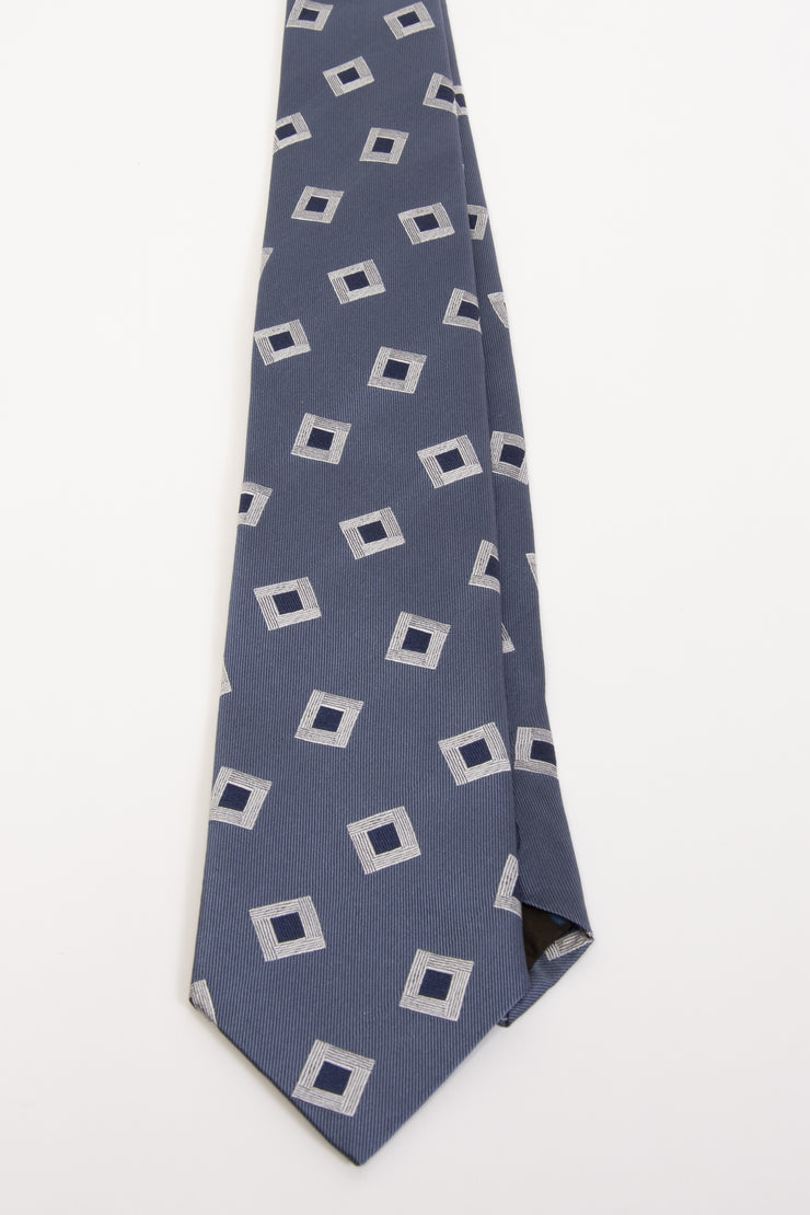 LIGHT BLUE & WHITE, BLUE ABSTRACT PATTERN JACQUARD SILK HAND MADE TIE - Fumagalli 1891