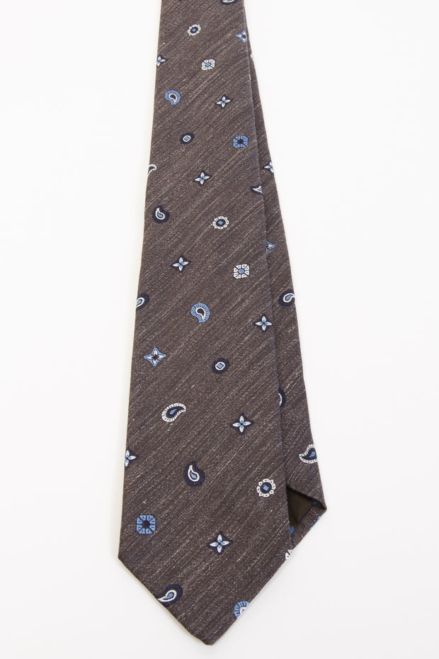 BEIGE, WHITE & LIGHT BLUE CLASSIC PATTERN VINTAGE SILK & linen hand made TIE - Fumagalli 1891