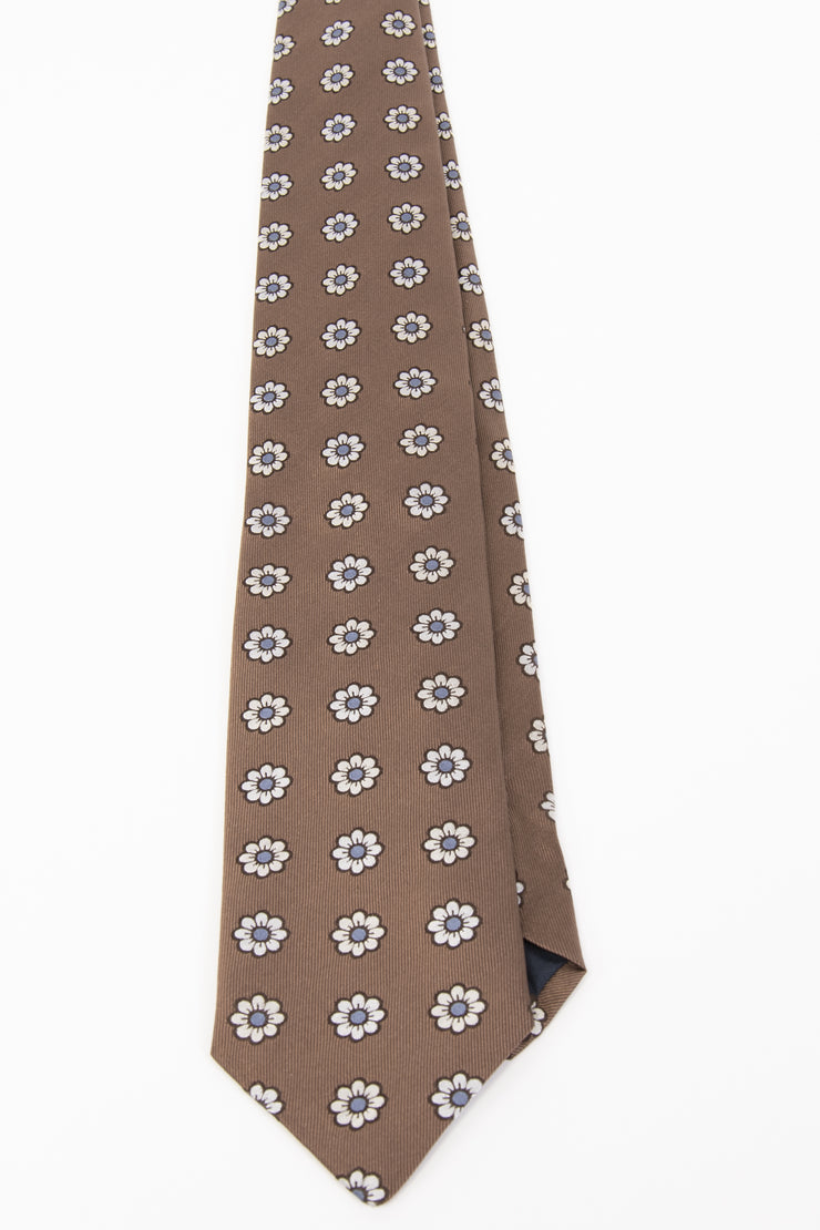 Light Brown, White & Light Blue Floral Jacquard Silk hand made Tie - Fumagalli 1891