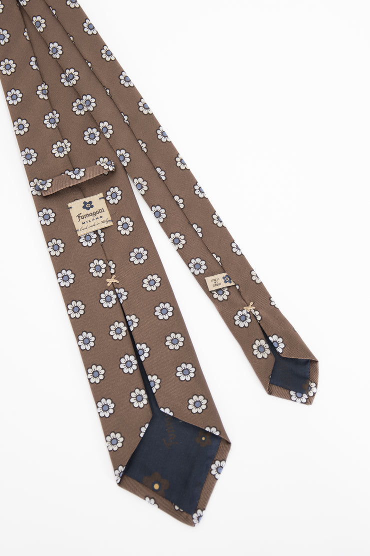 Light Brown, White & Light Blue Floral Jacquard Silk Tie - Fumagalli 1891