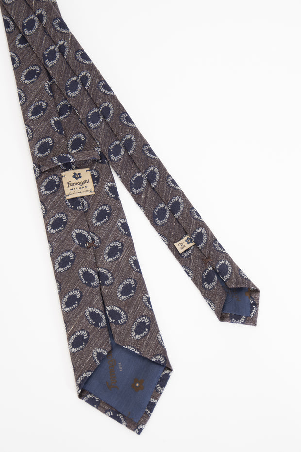 beautiful luxury handmade in italy tie whit blue and white details