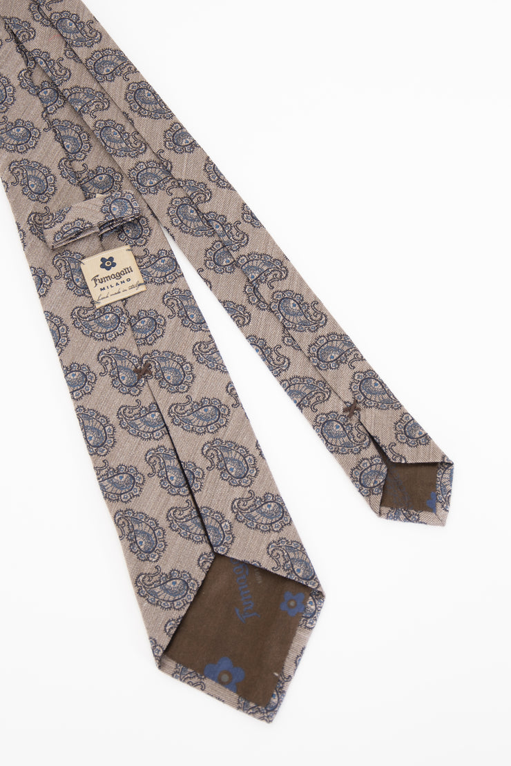 BEIGE, LIGHT BLUE PAISLEY SHANTUNG  SILK TIE
