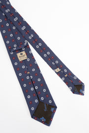 BLUE, WHITE & RED FLORAL JACQUARD SILK TIE
