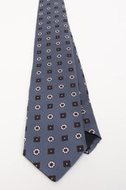 LIGHT BLUE, WHITE & BROWN FLORAL VINTAGE SILK TIE - Fumagalli 1891